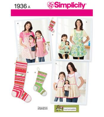 Simplicity Pattern 1936A Child & Misses Aprons-Size S-L/S