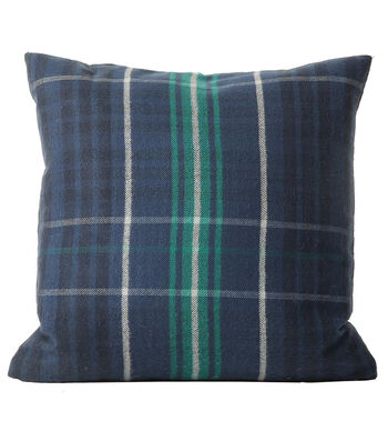 Fall Into Color 18''x18'' Pillow-Blue Plaid