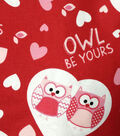 Valentine Print Fabric-Owl Be Yours Red