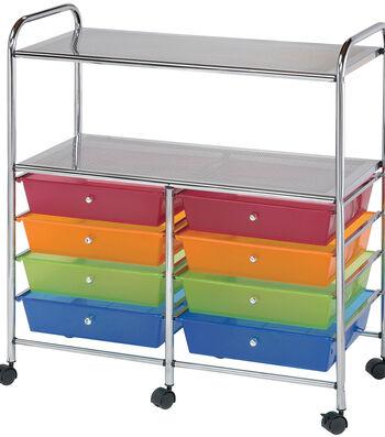 Storage Cart with 8 Drawers-Multi 31.74''x14.75''x35''
