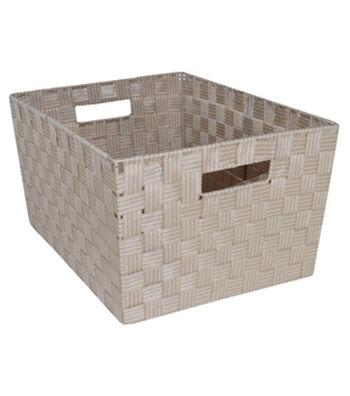 Organizing Essentials™ Strap Bin-Taupe Plaid
