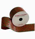 Maker\u0027s Holiday Satin Ribbon 2.5\u0027\u0027x25\u0027-Red Green Glitter Chevron