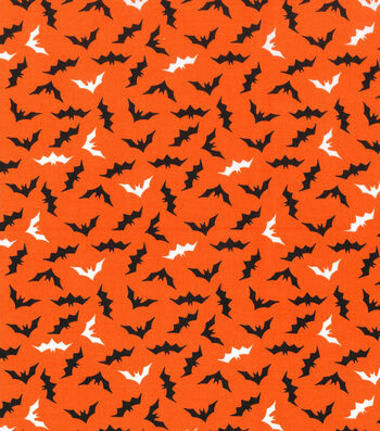 Holiday Showcase™ Halloween Cotton Fabric 43''-Mini Bats on Orange