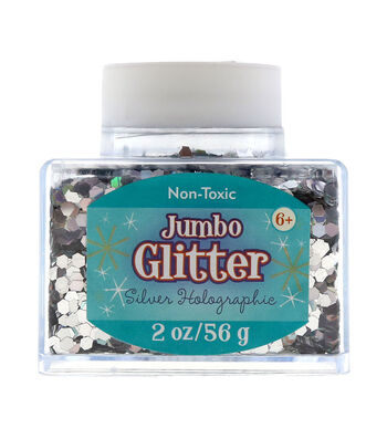 Stackable 2oz Jumbo Glitter-Silver Holographic