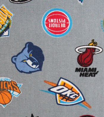 All Team Cotton Fabric 44''-Tossed on Gray