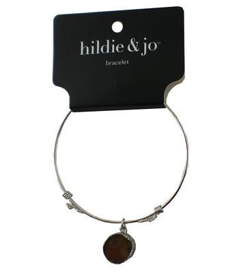 hildie & jo 7'' Silver Bangle Bracelet-Dark Brown Druzy Dangle