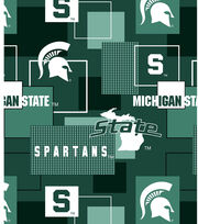 Michigan State University Spartans Cotton Fabric 43''-Modern Block, , hi-res