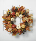Blooming Autumn 24\u0027\u0027 Pumpkin Maple Leaf Wreath