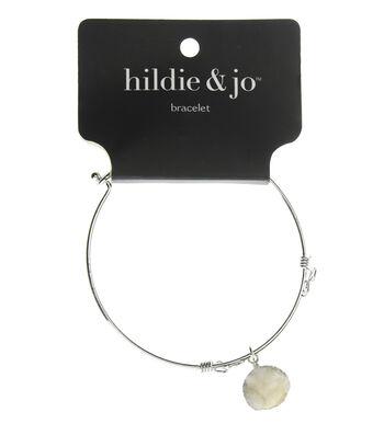 hildie & jo 7'' Silver Bangle Bracelet-White Druzy Dangle