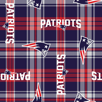 "New England Patriots Fleece Fabric 58""-Plaid"