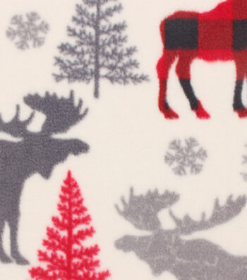 Anti-Pill Fleece Fabric 61''-Patterned Trap Moose