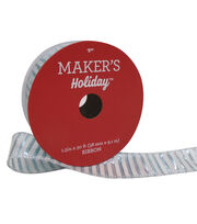 Maker's Holiday Christmas Ribbon 1.5''x30'-Blue Stripes on White, , hi-res
