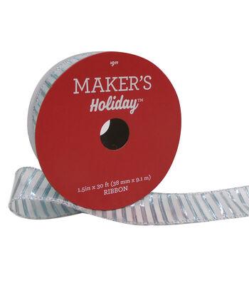 Maker's Holiday Christmas Ribbon 1.5''x30'-Blue Stripes on White