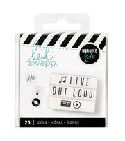 Heidi Swapp Lightbox Inserts 20/Pkg-Black Icons, , hi-res