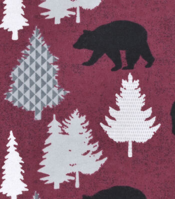 "Snuggle Flannel Fabric 42""-Black Bear On Red"