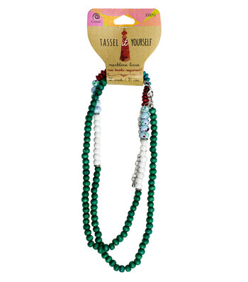 Cousin® Tassel It Yourself Wood Necklace-Teal, White, Blue & Red