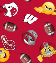 "University of Wisconsin Badgers Fleece Fabric 60""-Emoji, , hi-res"