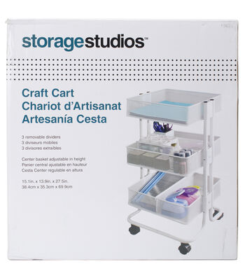 Storage Studios Rolling Craft Cart With Three Bins
