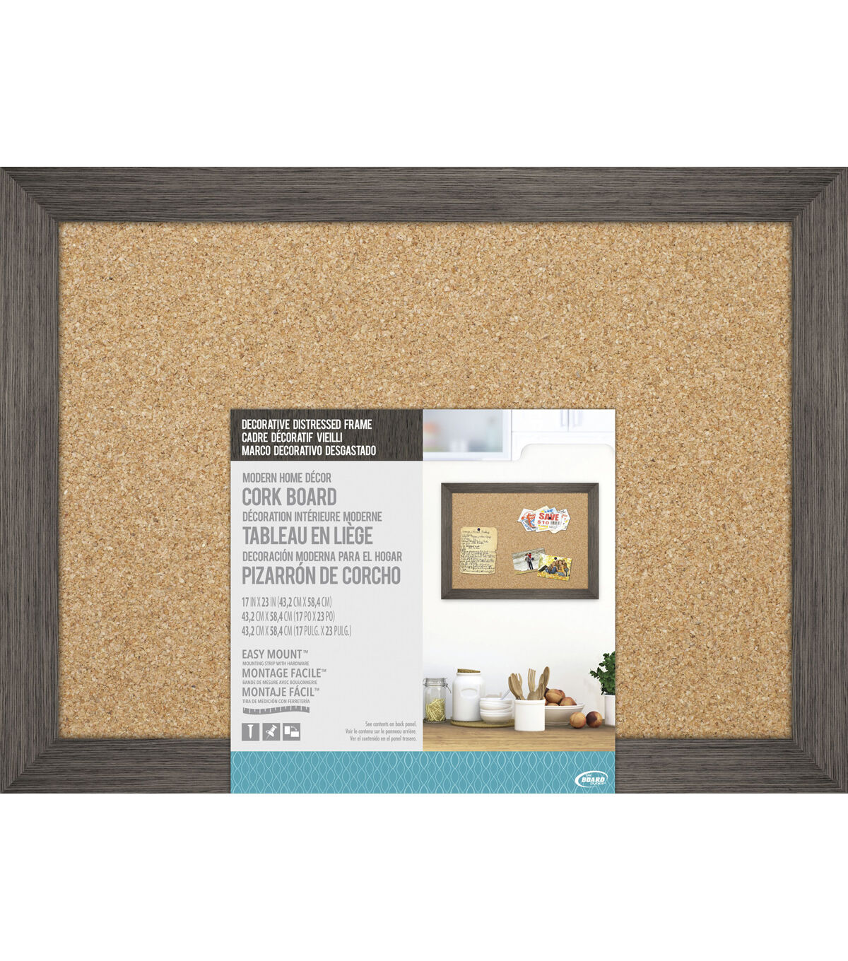 the board dudes cork board with decorative distressed wood frame