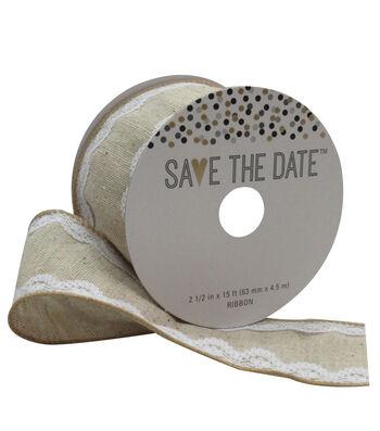 Save the Date 2.5'' X 15' Ribbon-Lace Burlap