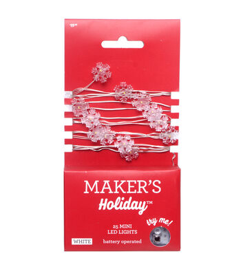 Maker's Holiday 25 ct Snowflake Mini LED Light Strand-White with Silver