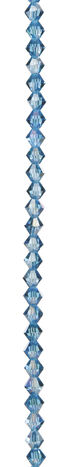 7\u0022 Bead Strands - Aqua AB Color Crystal Bicones, 6mm