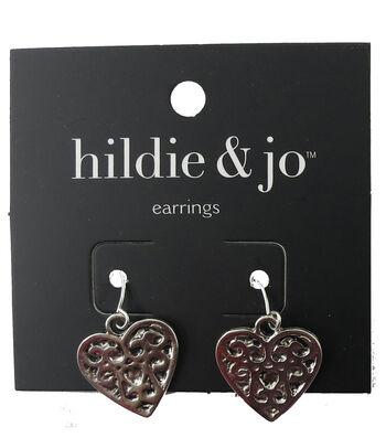 hildie & jo™ 0.75''x0.88'' Heart Scroll Silver Earrings