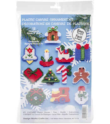 """Country Christmas Ornaments Plastic Canvas Kit-2"""" 7 Count Set Of 12"""