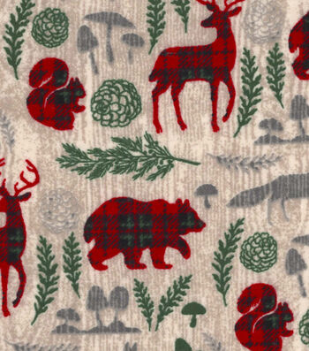 "Snuggle Flannel Fabric 42""-Pattern Trap Woodland Animals"