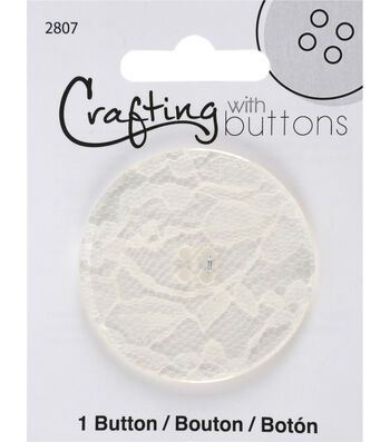 Crafting with Buttons Black & White 2'' Lace Button-White