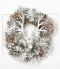 Blooming Holiday 24\u0027\u0027 Stag & Pinecone Wreath-Silver