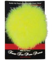 Faux Fur Pom Pom-Lemon Lime, , hi-res