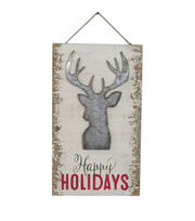 Maker's Holiday Christmas Wall Decor-Happy Holidays & Stag Head, , hi-res