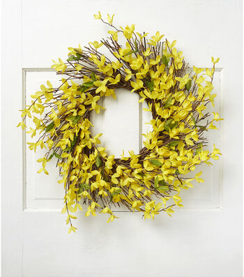 Fresh Picked Spring 22'' Forsythia & Twig Wreath-Yellow