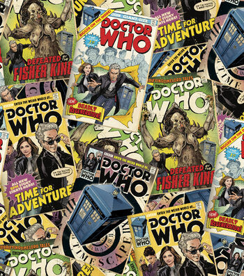 """Doctor Who Comic Book Cotton Fabric 43""""-Tossed Comics"""