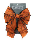 Maker\u0027s Halloween 2.5\u0027\u0027 Bow-Black Spider Web on Orange