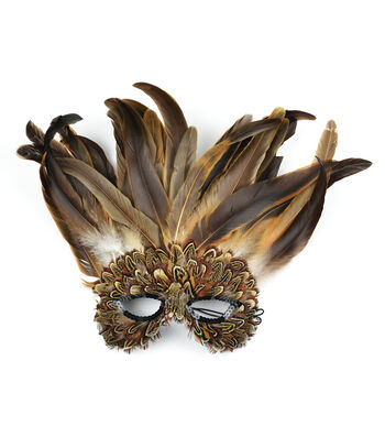 Maker's Halloween Owl Fancy Half Mask with Feathers-Natural