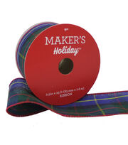 Maker's Holiday Christmas Ribbon 2.5''x25' -Blue, Red & Green Plaid, , hi-res