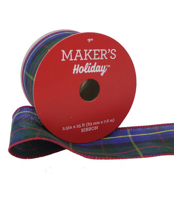 Maker's Holiday Christmas Ribbon 2.5''x25' -Blue, Red & Green Plaid