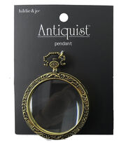 hildie & jo™ Antiquist Antique Gold Pendant-Clear Round Glass, , hi-res