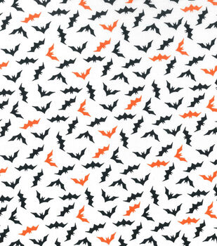 holiday showcase halloween cotton fabric 43 mini bats on white - Halloween Lace Fabric