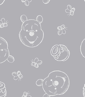 "Nursery Flannel Fabric 43""-Pooh Silhouettes"