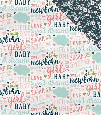 """Rock-A-Bye Baby Girl Double-Sided Cardstock 12""""X12""""-Everything Nice"""