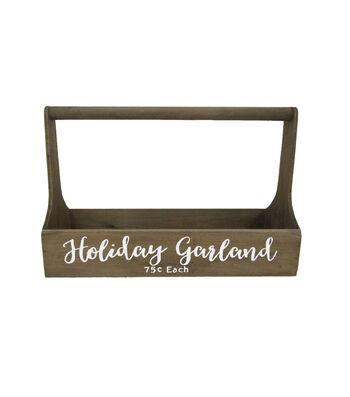 Blooming Holiday Large Wood Holiday Caddy-Holiday Garland