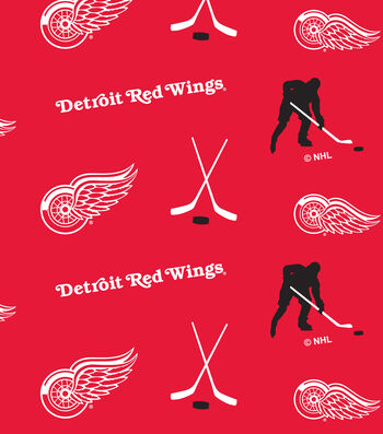 """Detroit Red Wings Fleece Fabric 60""""-Tossed"""