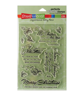 """Stampendous Perfectly Clear Stamps 4""""X6"""" Sheet-Christmas Wishes"""