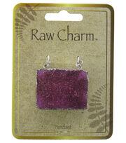 Naturals Raw Charm Fuchsia Druzy Pendant, , hi-res