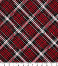 Christmas Cotton Fabric 43\u0022-Red Black Plaid