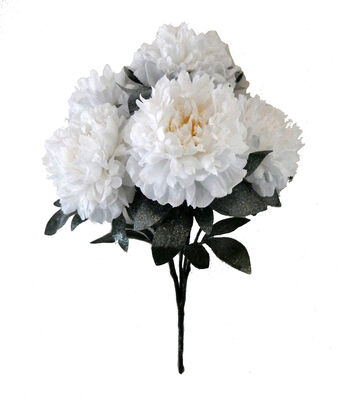Blooming Holiday Christmas 19'' Peony Spray with Snow-White