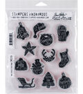 Tim Holtz 12 pk Cling Mount Stamps-Mini Carved Christmas